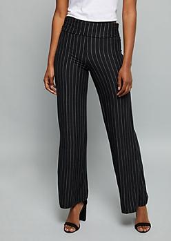 Black Striped Super Soft Foldover Palazzo Pants