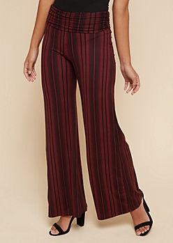Burgundy Striped Super Soft Flared Pants