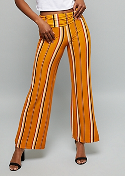 Orange Striped Super Soft Foldover Palazzo Pants
