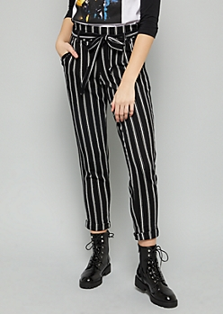 Black Striped Paperbag High Waisted Crepe Pants