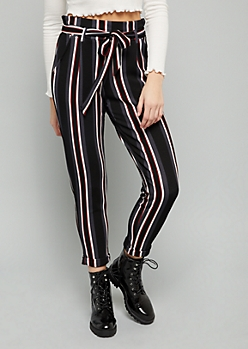 Multi Striped Paperbag High Waisted Crepe Pants