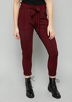 Burgundy Striped High Waisted Crepe Paperbag Waist Pants