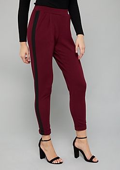 Burgundy Side Striped Slim Pants
