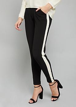Black Side Striped Slim Pants