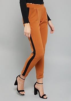 Mustard Yellow Side Striped Slim Pants