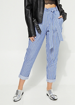 Light Blue Striped Elastic Waist Pants