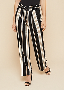 Black Striped Pattern Paperbag Waist Palazzo Pants