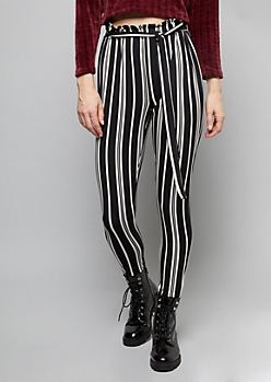 Black Striped Super Soft Paperpag Waist Cuffed Pants