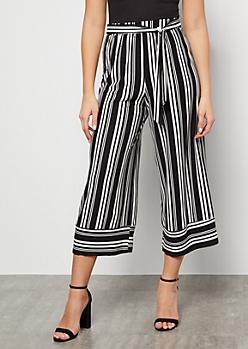 Black Striped Super Soft High Waisted Gaucho Pants