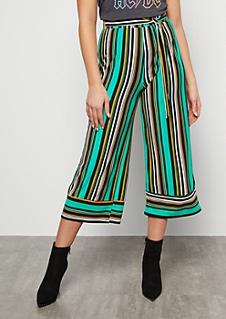 Teal Striped Super Soft High Waisted Gaucho Pants