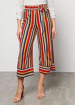Burnt Orange Striped Super Soft High Waisted Gaucho Pants