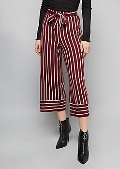 Burgundy Striped Super Soft Extra High Waisted Gaucho Pants
