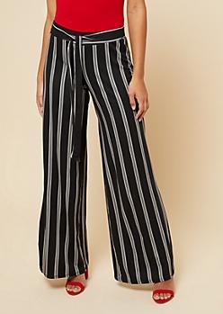 Black Striped High Waisted Wide Leg Pants