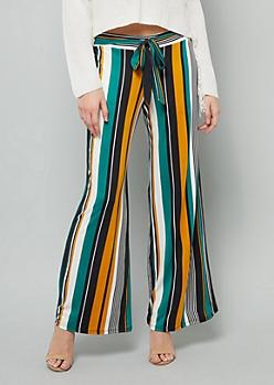 Green Striped High Waisted Wide Leg Pants