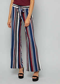 Navy Striped High Waisted Wide Leg Pants