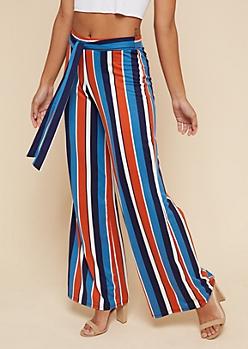 Rust Striped High Waisted Wide Leg Pants