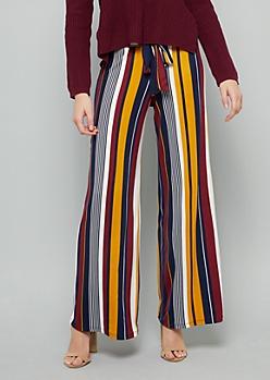 Burgundy Striped High Waisted Wide Leg Pants