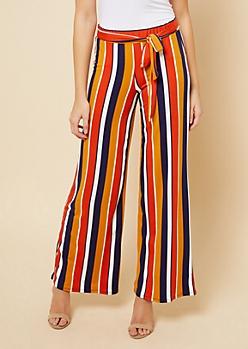 Orange Striped High Waisted Wide Leg Pants