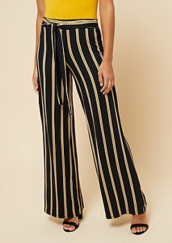 Gold Striped High Waisted Wide Leg Pants