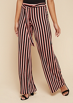 Pink Striped High Waisted Wide Leg Pants