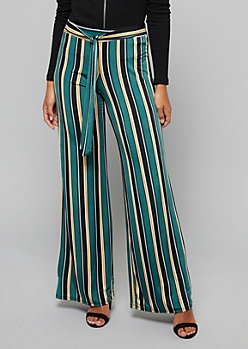 Green Striped High Waisted Tie Flare Pants