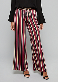 Burgundy Striped High Waisted Tie Flare Pants