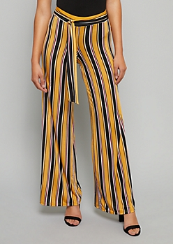 Yellow Striped High Waisted Tie Flare Pants