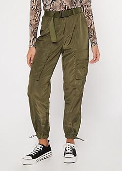 Olive Utility Belted Swishy Cargo Pants