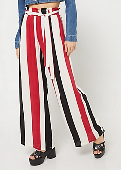 Ivory Striped Pattern Tie Front Palazzo Pants