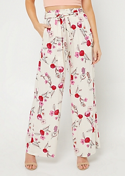 Ivory Floral Print Tie Front Palazzo Pants