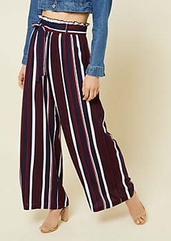 Burgundy Striped Pattern Tie Front Palazzo Pants