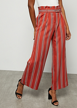 Burnt Orange Extra High Waisted Paperbag Waist Pants