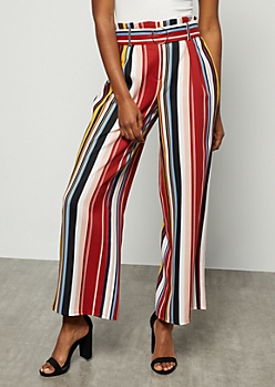 Dark Red Extra High Waisted Paperbag Waist Pants