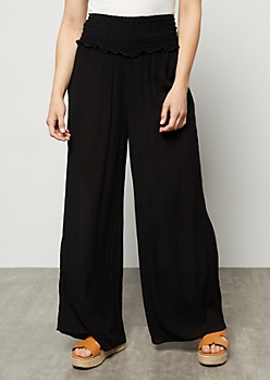 Black Smocked High Waisted Palazzo Pants