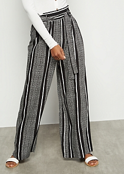 Black Speckled Striped Paperbag Waist Palazzo Pants