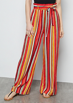 Coral Speckled Striped Paperbag Waist Palazzo Pants