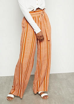 Orange Speckled Striped Paperbag Waist Palazzo Pants