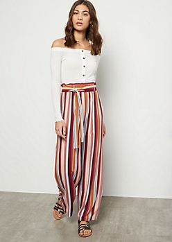 Magenta Striped Paperbag Waist Palazzo Pants