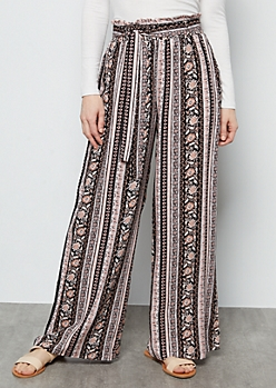 Light Pink Border Print Paperbag Waist Palazzo Pants