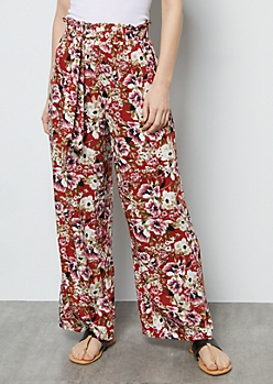Red Floral Print Paperbag Waist Palazzo Pants