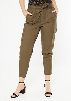 Olive Cargo Pocket Extra High Paperbag Waist Pants