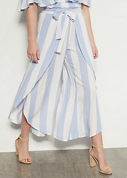 Light Blue Striped Tulip Hem Leg Pants