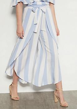 Light Blue Striped Tulip Hem Leg Pants