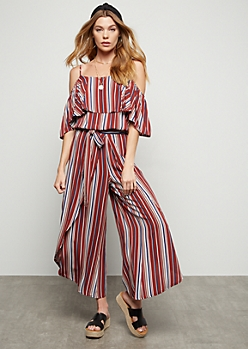 Medium Red Striped Open Tulip Hem Pants