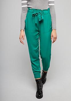 Green Tie Front Paperbag Waist Pants
