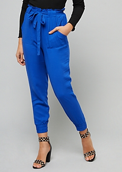 Navy Tie Front Paperbag Waist Pants