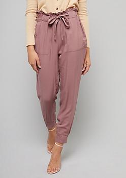 Dark Pink Tie Front Paperbag Waist Pants