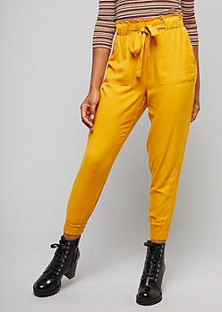 Mustard Yellow Tie Front Paperbag Waist Pants