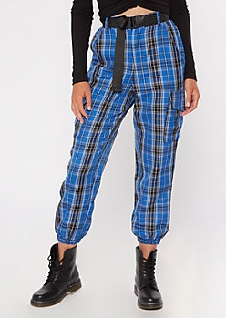 Blue Plaid Print Belted Cargo Joggers