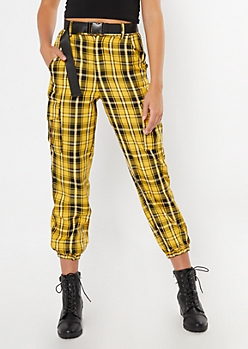 Yellow Plaid Print Belted Cargo Joggers